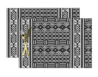 Mudcloth Placemats (Set of 2) - Charcoal Grey Mudcloth by thestylesafari - African Inspired  Black And White Cloth Placemats by Spoonflower