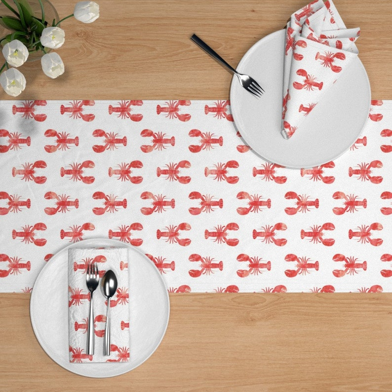 Modern Nautical  Red And White  Cotton Sateen Table Runner by Spoonflower Lobster Table Runner Red Lobster Fabric by littlearrowdesign