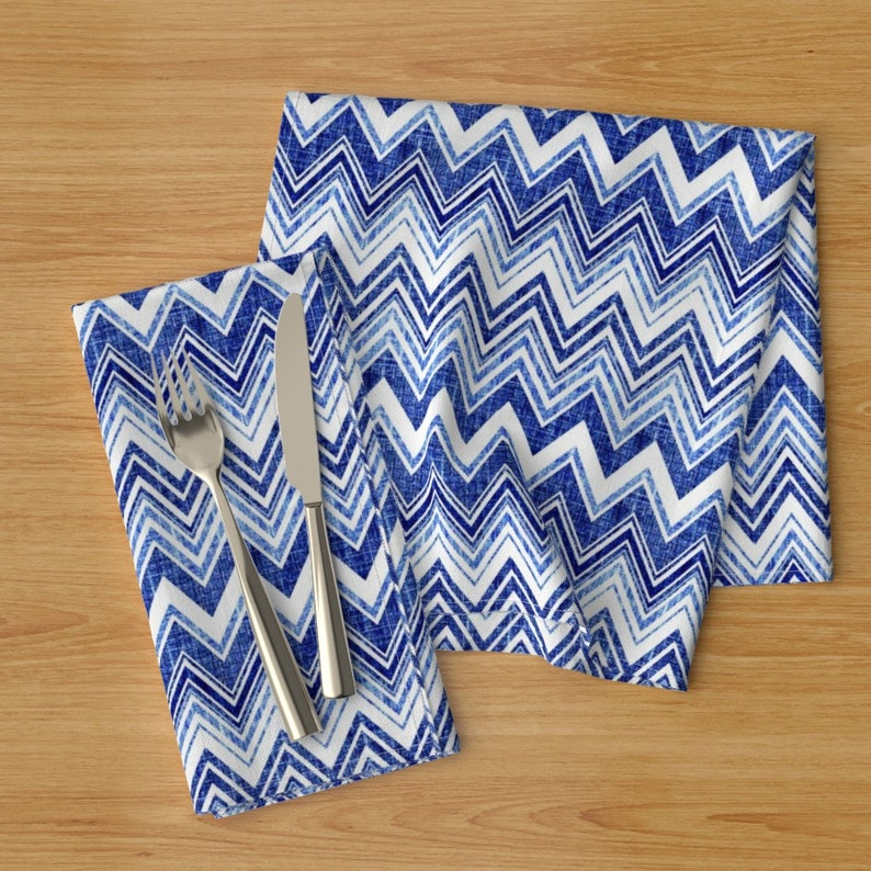 Denim  Chevron Modern Home Decor Blue White Cloth Napkins by Spoonflower Set of 2 Zig Zag Dinner Napkins - Chevron Blue by joanmclemore