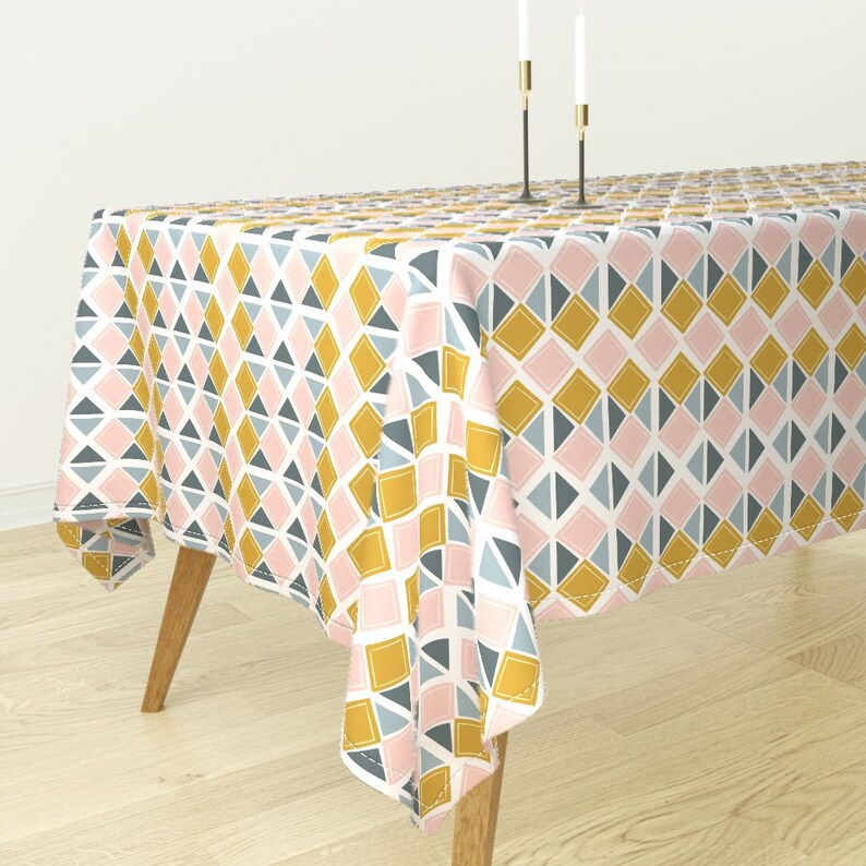 Garden by fineapple/_pair Blush Triangles Tablecloth Mustard Geometric Cotton Sateen Tablecloth by Spoonflower