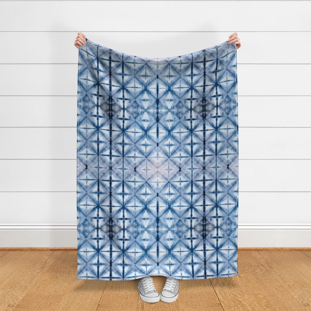 Indigo Diamonds Throw Blanket - Shibori Diamonds by jewels-at-home - Japanese Inspired Boho Tie Dye Throw Blanket with Spoonflower Fabric