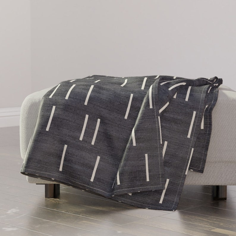 Denim/_line/_mud/_cloth Large by holli/_zollinger Mud Cloth Throw Blanket Minimalist Throw Blanket with Spoonflower Fabric