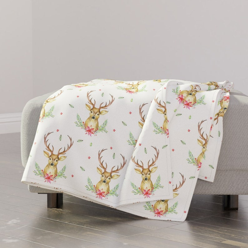 Hello Deer Holiday Print by shopcabin Festive Throw Blanket Christmas Woodland Flowers Floral Stag Throw Blanket with Spoonflower Fabric