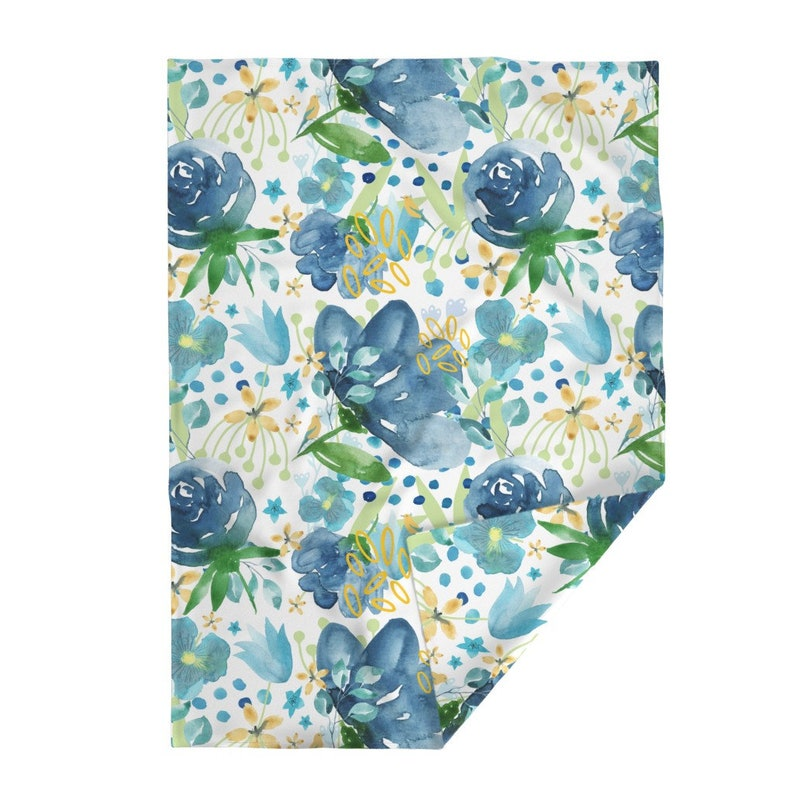 Large Watercolor  Summer Flowers Throw Blanket with Spoonflower Fabric Blue Florals Throw Blanket Bliss Hero by dawn/_leblanc