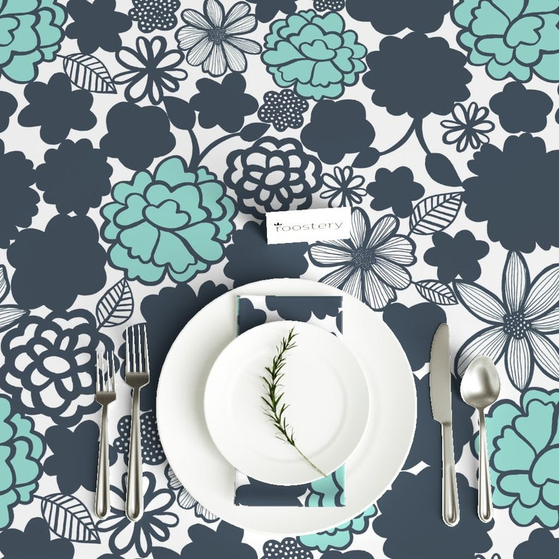 Aqua Navy Flower Abstract Garden Cotton Sateen Tablecloth by Spoonflower Blue Florals Tablecloth Chelsea Navyaqua by elephantandrose