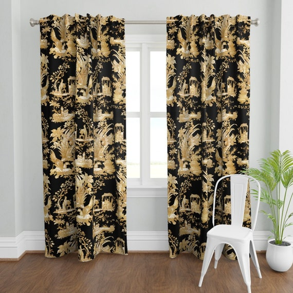 Faux Gold Curtain Panel Chinoiserie, Black Toile Curtains