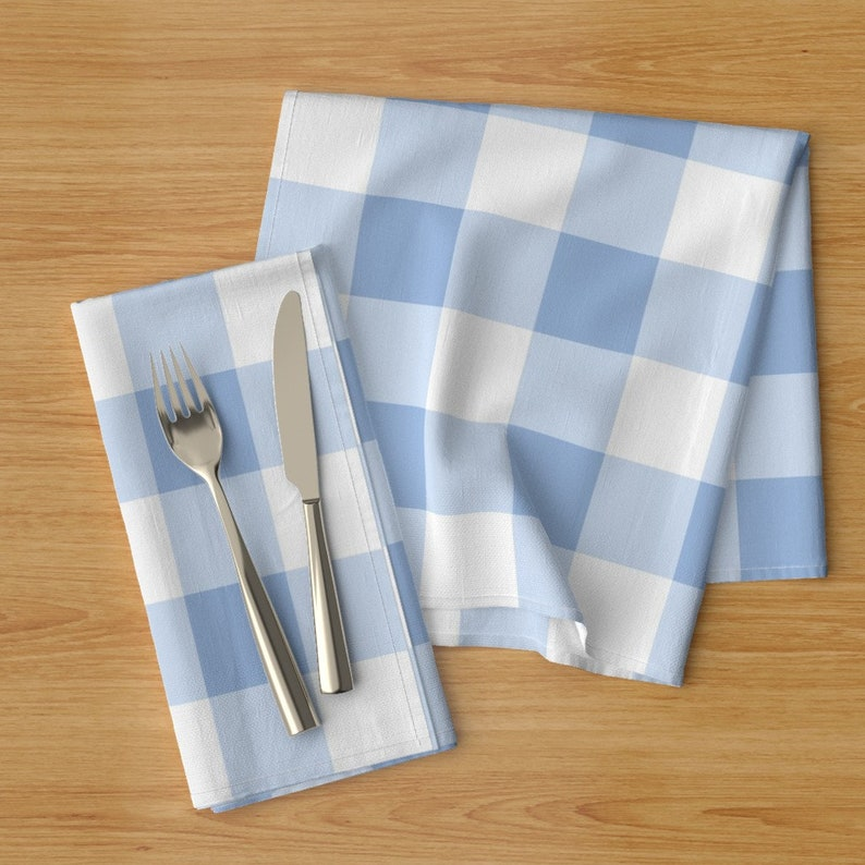 Plaid Dinner Napkins - Gustav Gingham Check In Blue by lilyoake Set of 2 Tartan  Checks Blue And White Cloth Napkins by Spoonflower