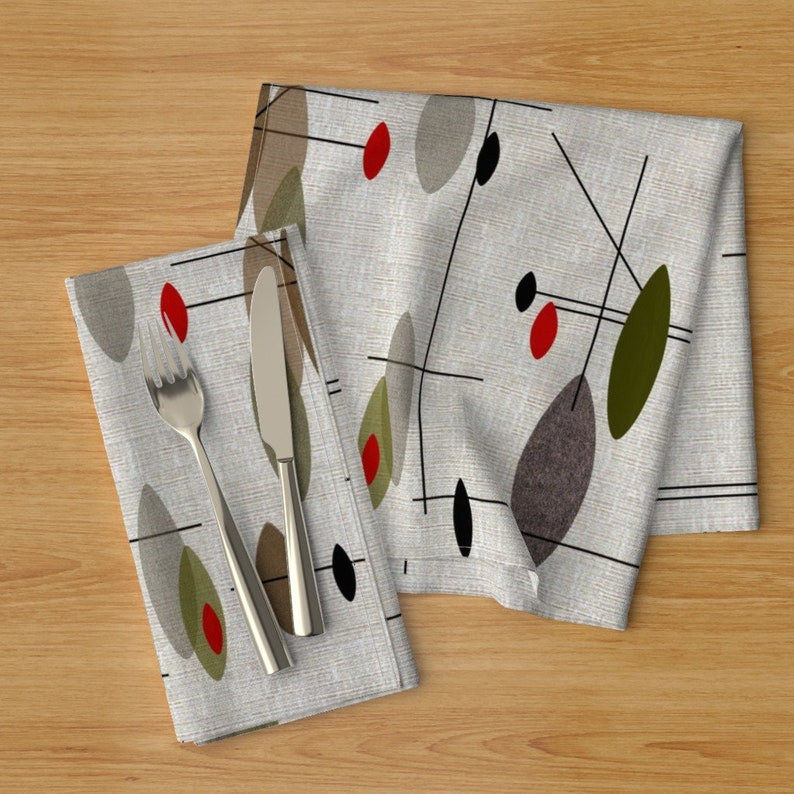 Mid-century Abstract  Cloth Napkins by Spoonflower - Hanging Orbs by gigirn46aim/_com Mid-century Modern Dinner Napkins Set of 2