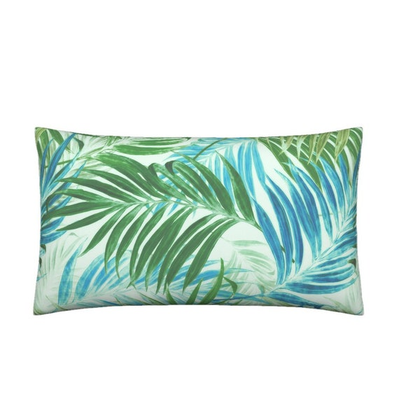 09720f381f4 Tropical Beach Lumbar Throw Pillow Palm Leaves in Sky Blue