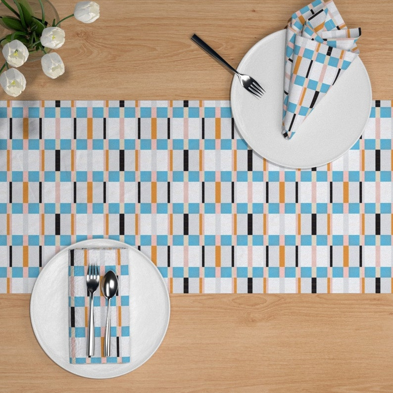 Geometric  Squares Striped Grid Abstract Plaid Cotton Sateen Table Runner by Spoonflower 1812blue2 by miamaria Retro Mod Table Runner