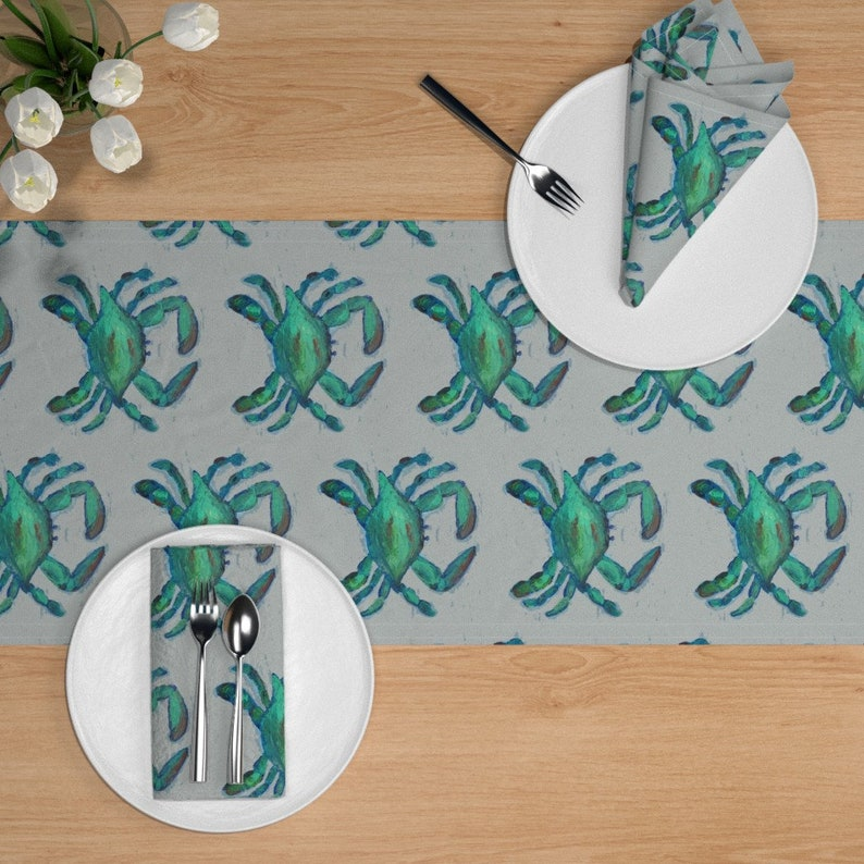 Blue Crab Table Runner Blue Crabs by lisakling Marine Life  Crustaceans Sea Life Shellfish Cotton Sateen Table Runner by Spoonflower