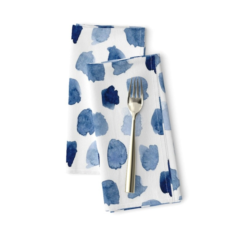 Watercolor Spots  Paint Droplets Cloth Napkins by Spoonflower Indigo Dots Dinner Napkins Set of 2 - Watercolor In Blue by dinaramay