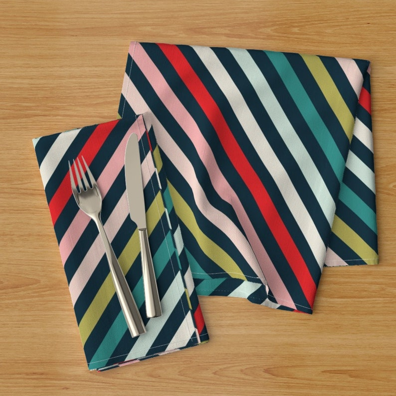 Christmas Dinner Napkins - Christmas Multi Stripe by acdesign Scandinavian  Holiday Decor Striped Cloth Napkins by Spoonflower Set of 2