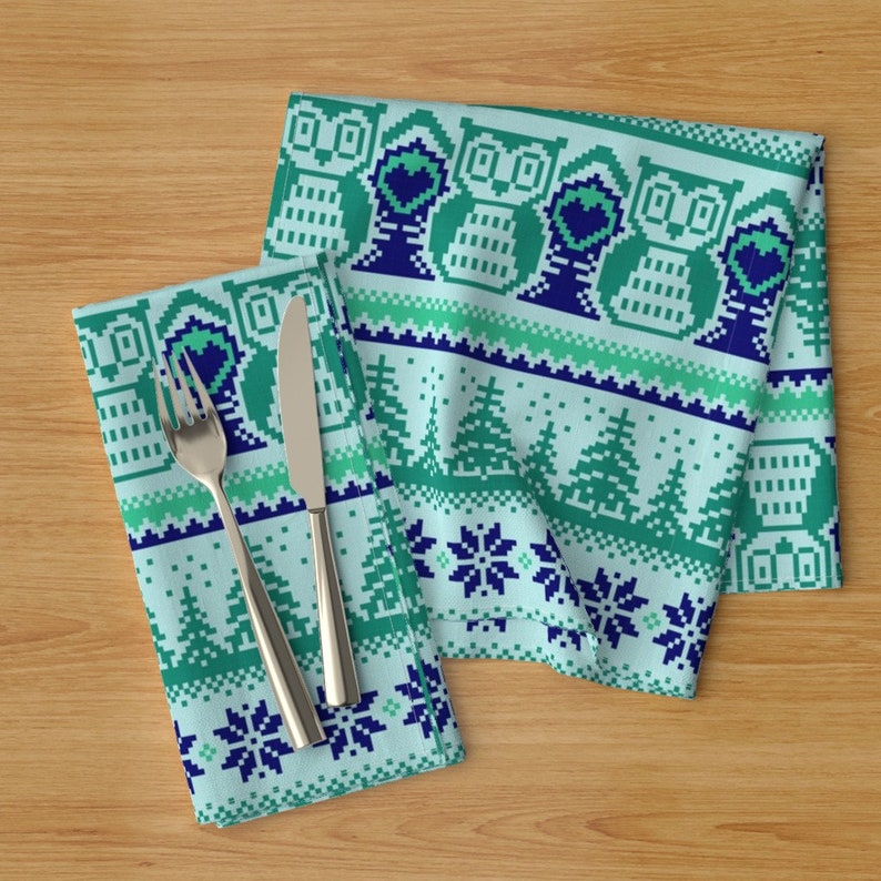 Pixel Forest  Cloth Napkins by Spoonflower Set of 2 - In The Woods Blue And Green by diseminger Woodland Winter Dinner Napkins