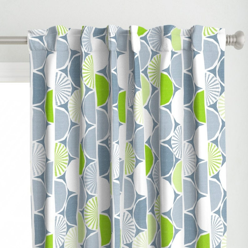 Bright Citrus  Woven Look Semicircles Color Block Custom Curtain Panel by Spoonflower Modern Limes Curtain Panel Lime Wedge by fleabat