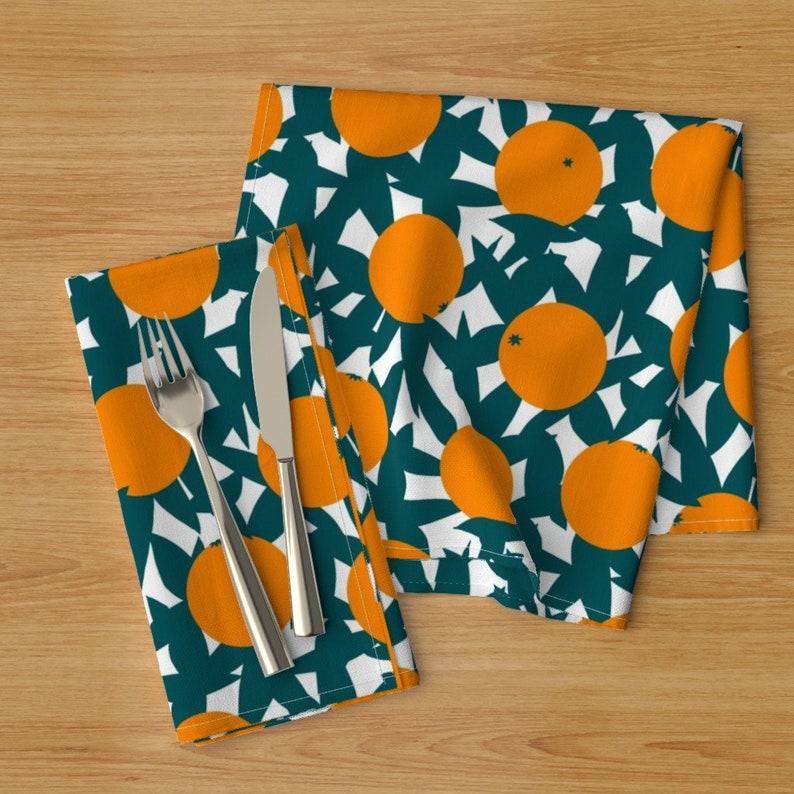 Fruit  Botanical Cloth Napkins by Spoonflower Citrus Dinner Napkins Set of 2 - Art Deco Minimalist Orange Grove by elliottdesignfactory