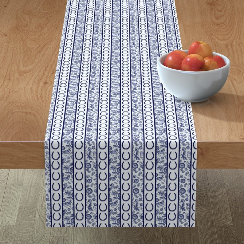 Equestrian Delft  Horse Decor Pony Horsehsoe Cotton Sateen Table Runner by Spoonflower Horseshoe Table Runner Delft Stripes by ragan