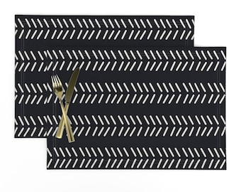 African Placemats (Set of 2) - Mudcloth 3 by kelly_korver - Tribal  Bohemian Boho Mudcloth Tribal Monochrome Cloth Placemats by Spoonflower