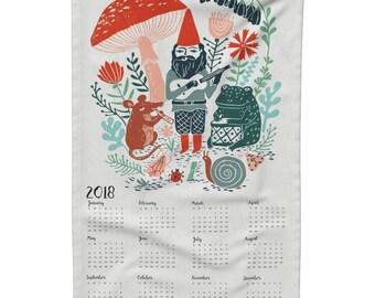 Tea Towel Calendar Set - 2018 gnome calendar by Andrea Lauren - Woodland Gnome Linen Cotton Tea Towel Set by Roostery Spoonflower