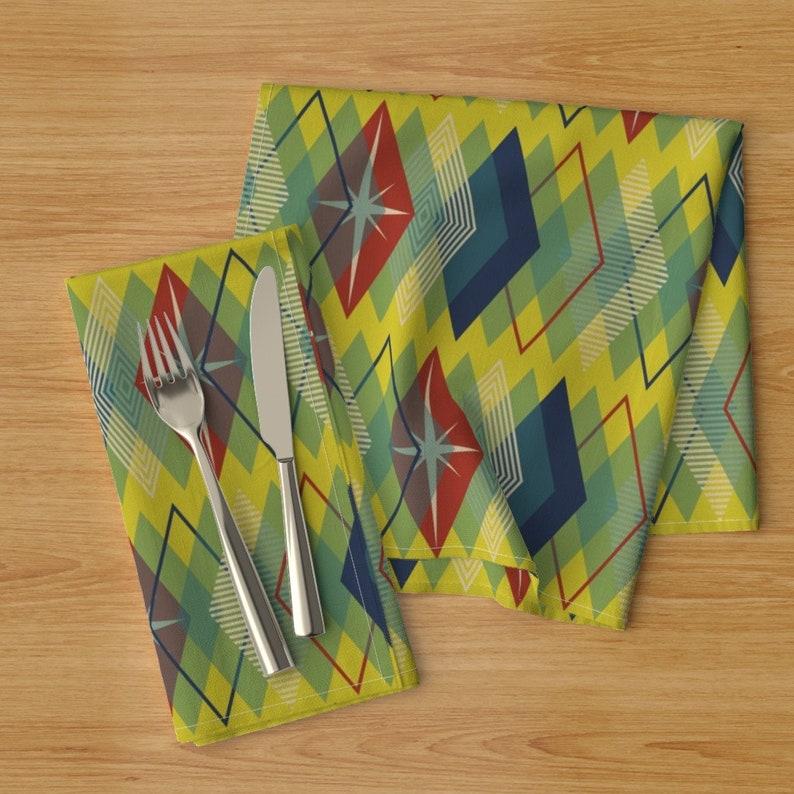Set of 2 - Old Diamonds Atomic Lemon by siya Mid Century Dinner Napkins Yellow  Geometric Retro Diamonds Cloth Napkins by Spoonflower