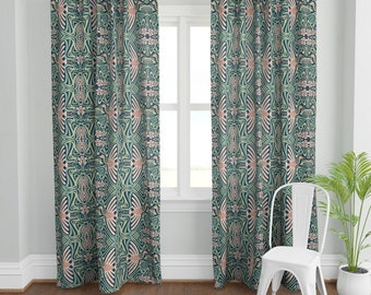 Art Nouveau Crane Curtain Panel - I'll Fly Away by nanshizzle - Green Pink  Art Deco Mint Mauve  Custom Curtain Panel by Spoonflower