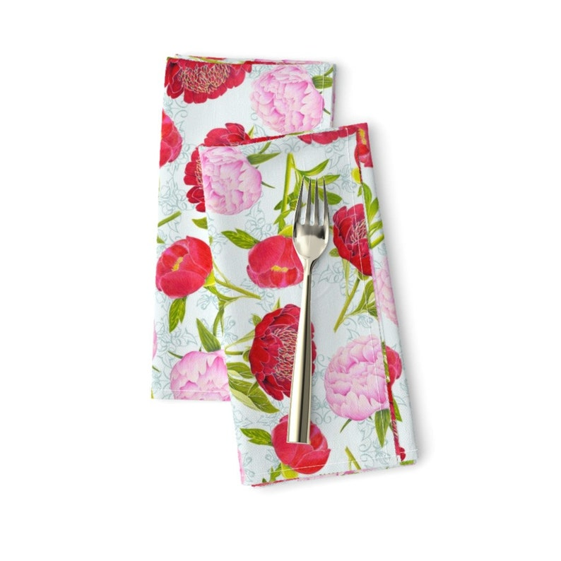 Spring Garden  Spring Botanical Cloth Napkins by Spoonflower Floral Dinner Napkins Set of 2 - Peony Basic by blairfully/_made