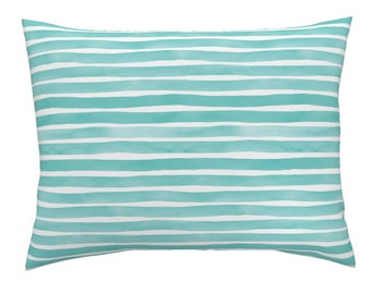 Pillow Sham - Watercolor Stripes M+M Aqua by Friztin - Brushstrokes Striped Cotton Pillow Sham - Roostery Bedding Printed Spoonflower Fabric
