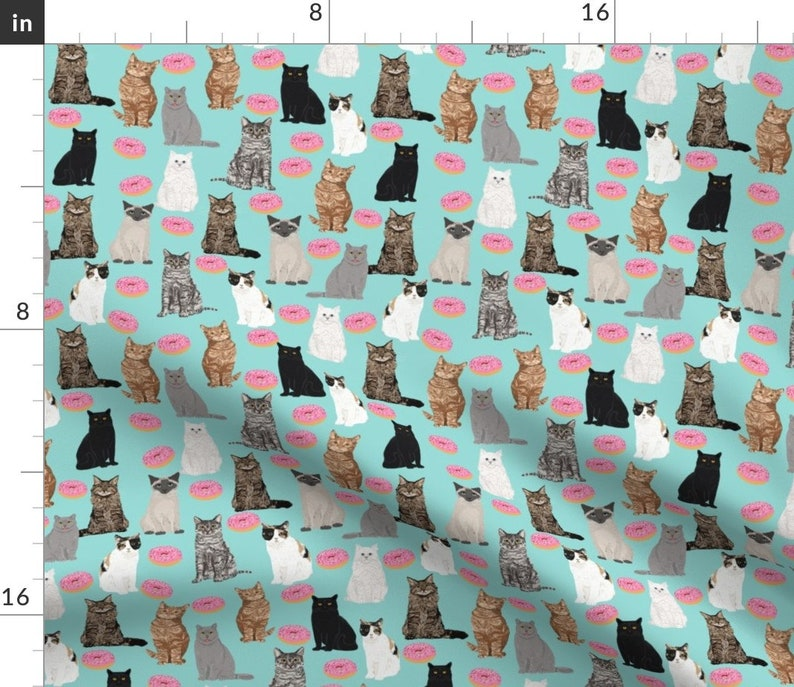 Set of 4 - Cats And Donuts Mint Pink  by petfriendly Sweet Donuts  Animal Food Girl Cloth Napkins by Spoonflower Cats Cocktail Napkins