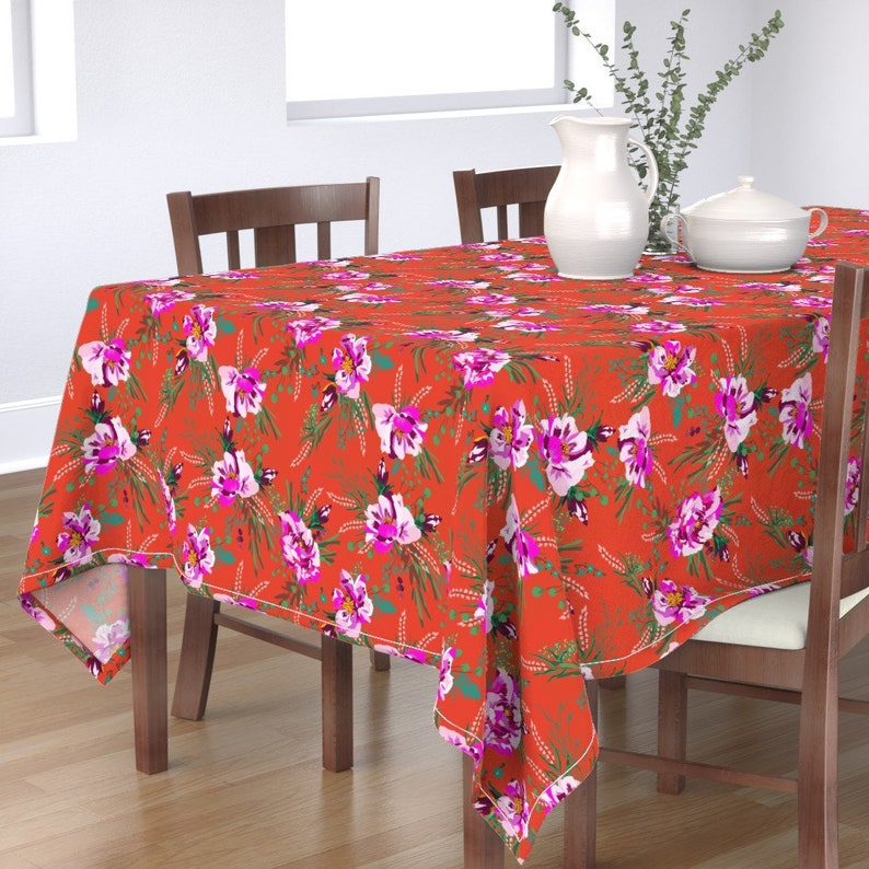 Botanical  Orange Modern Home Decor Cotton Sateen Tablecloth by Spoonflower Floral Tablecloth Poppy Wild Orange by holli/_zollinger