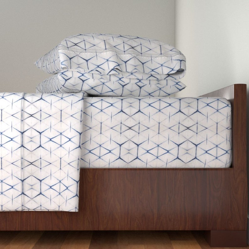 Shibori Triangle by Geometric Sheets Shibori Cotton Sateen Sheet Set Bedding by Spoonflower