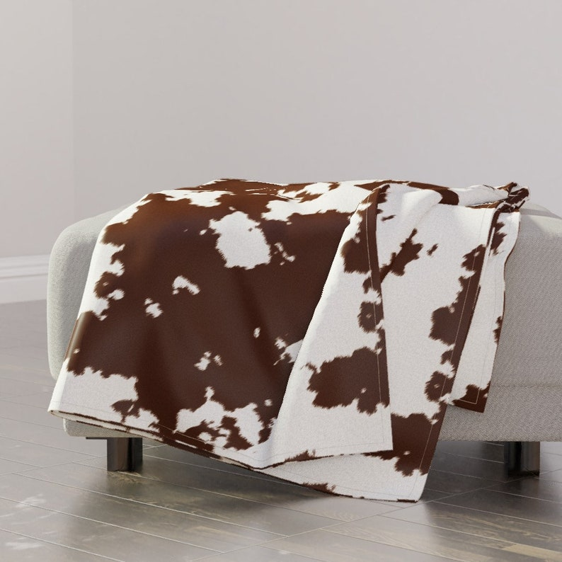 Realistic Brown Cow Hide  by themadcraftduckie Rodeo Cowboy Country Throw Blanket with Spoonflower Fabric Faux Hide Throw Blanket