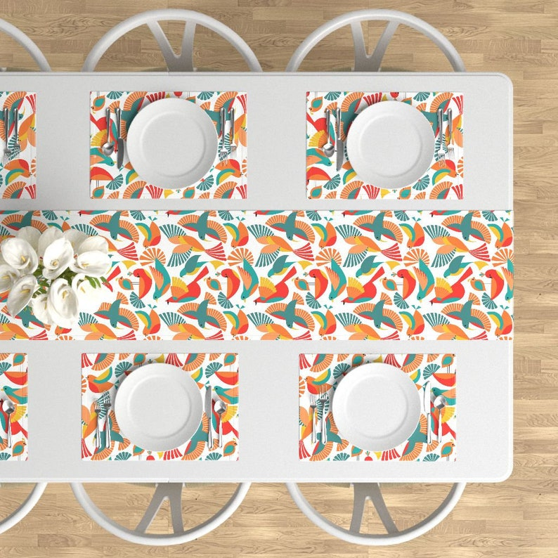 Stylized Birds Placemats Bright Hummingbird  Cloth Placemats by Spoonflower Set of 4 - Boom Chicka Bau Bau  by vo/_aka/_virginiao