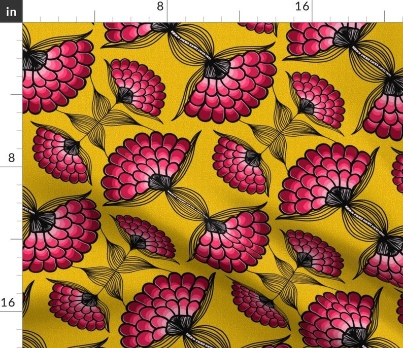 Yellow And Pink   Cotton Sateen Table Runner by Spoonflower Vibrant Table Runner African Art Inspired Cloth by thewellingtonboot