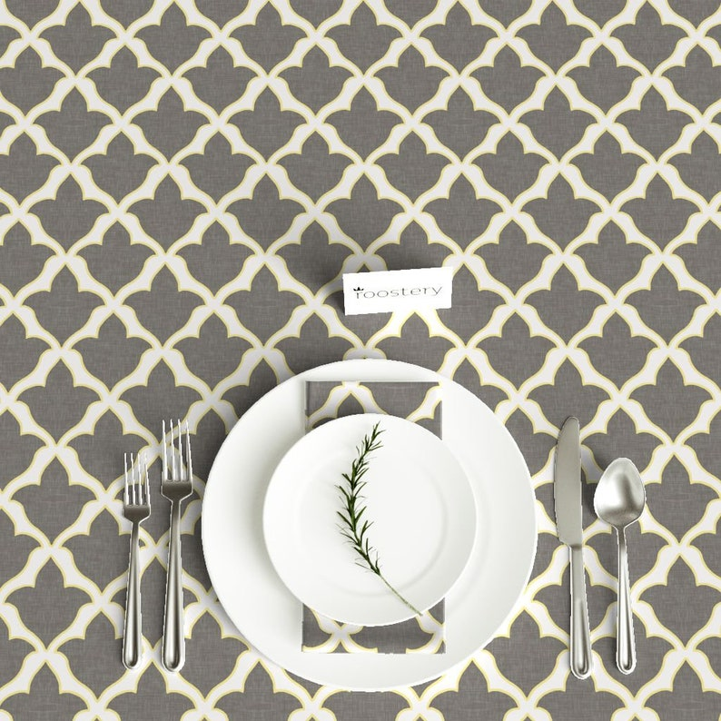 Rectangular Tablecloth in Cashmere Grey /& Citron by willowlanetextiles Gray Floral Cotton Sateen Tablecloth by Spoonflower Fabric Fleur