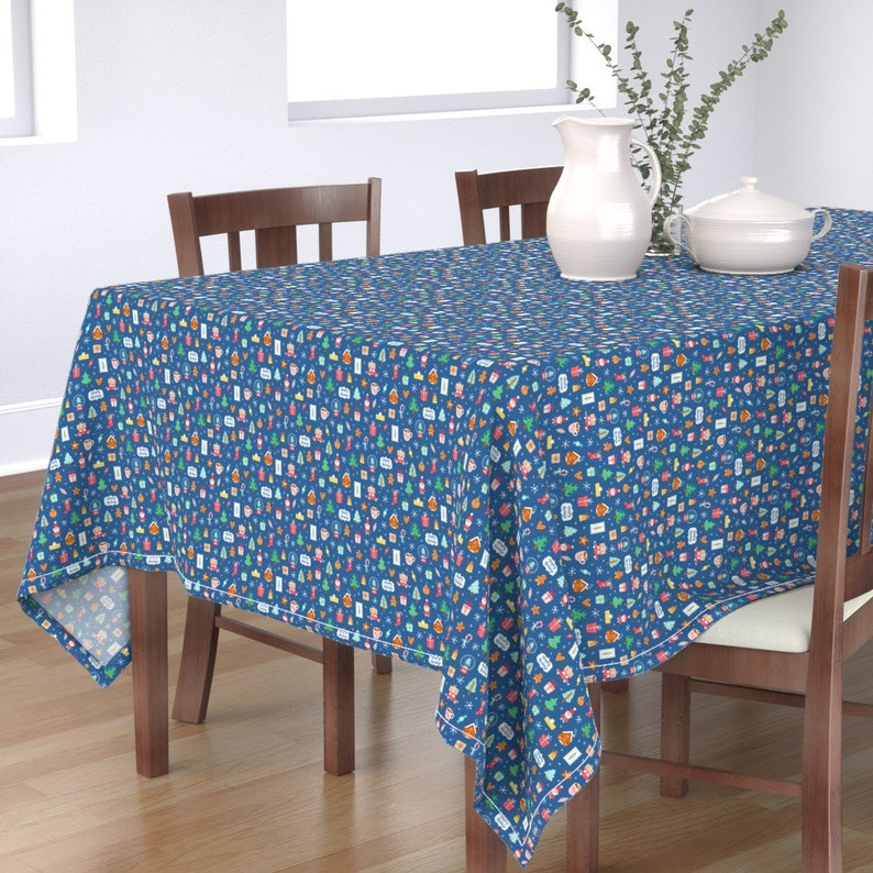Winter  Holiday Trees Santa Cotton Sateen Tablecloth by Spoonflower Christmas Tablecloth Winter Holidays Symbols by stolenpencil