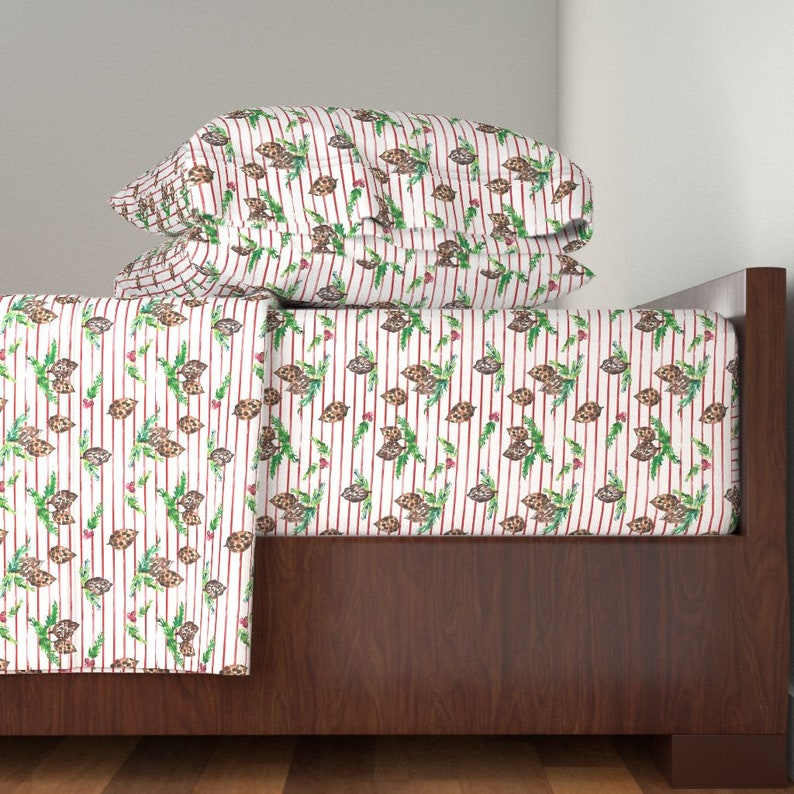 Pine Cone Berry Striped  by indybloomdesign Holiday Watercolor Floral Cotton Sateen Sheet Set Bedding by Spoonflower Christmas Sheets