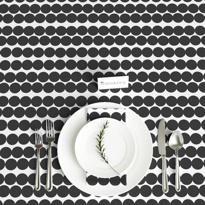 Mod Dots Bantam Cotton Sateen Tablecloth  Spoonflower Fabric Scandinavian dots black white by jenlats Rectangular Tablecloth