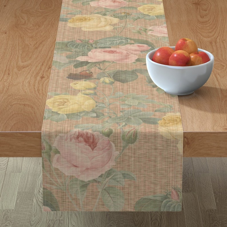 Victorian  English Cotton Sateen Table Runner by Spoonflower Belles Fleurs  Jolie Rayure  by peacoquettedesigns Floral Table Runner