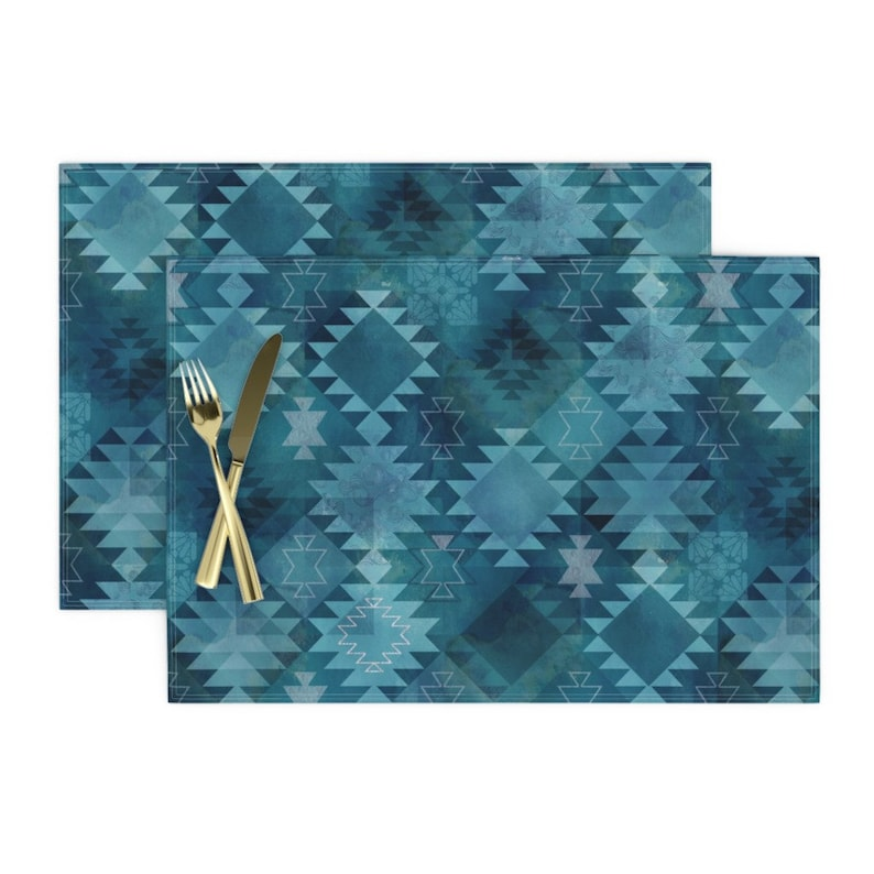 - Kilim Dark Blue by adenaj Set of 2 Bohemian  Abstract Turquoise Boho Home Decor Cloth Placemats by Spoonflower Tribal Placemats
