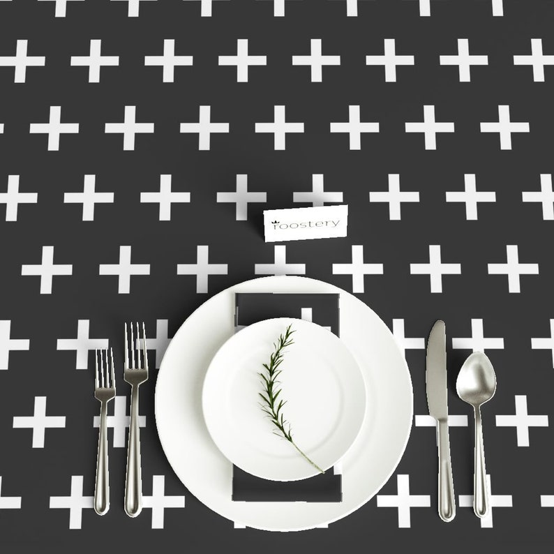 Cross Geometric Cotton Sateen Tablecloth by Spoonflower Black And White  by andrea/_lauren Swiss Cross Tablecloth