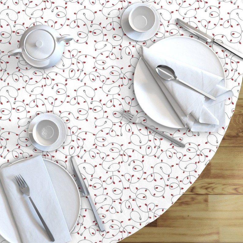 Christmas Lights by shopcabin Winter Holidays   Cotton Sateen Circle Tablecloth by Spoonflower Christmas Lights Round Tablecloth