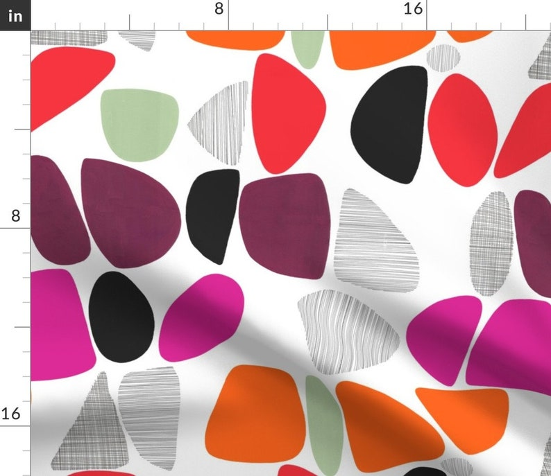 1950 Pebbles Pink Orange Red by kate/_rowley Retro Mod Table Runner Mid Century Modern   Cotton Sateen Table Runner by Spoonflower