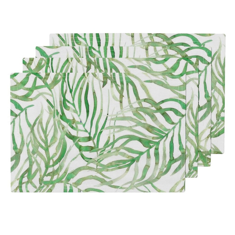 Watercolor Exotic Lush Handpainted Sfaut15 Cloth Placemats by Spoonflower Set of 4 Tropical Placemats - Palm Leaves by rebecca/_reck/_art