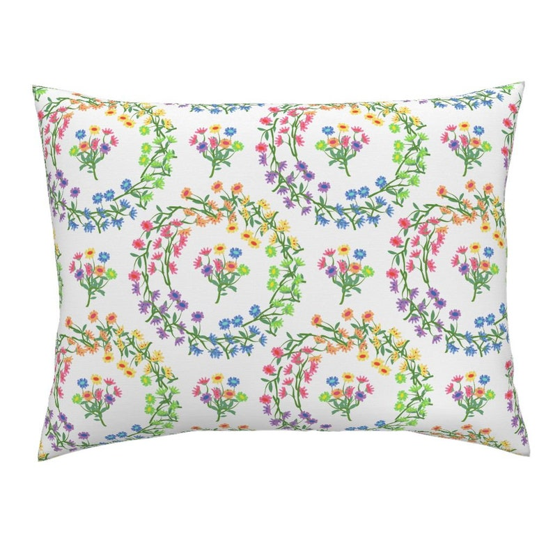 Floral Pillow Sham Rainbow Daisy Wreaths On White by eclectic/_house Colorful Wreaths Cotton Sateen Pillow Sham Bedding by Spoonflower