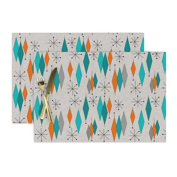 Cloth Placemats Mid Century Modern Scandinavian Abstract Geometric Set of 2