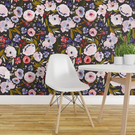 Floral Wallpaper Ibd Harriet Dark B By Indybloomdesign Modern Floral Isobar Durable Paste Wallpaper Double Roll By Roostery