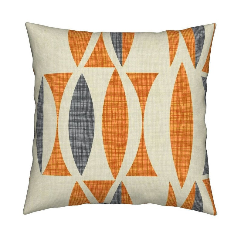 Mid Century Modern Throw Pillow - field in orange gray By Chicca_besso -  Retro Square Catalan Throw Pillow by Roostery with Spoonflower