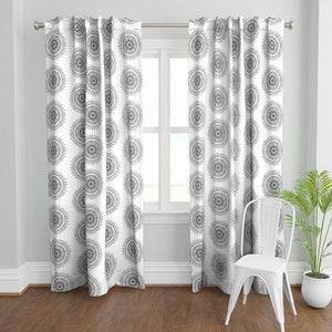 Black Mandala by mrshervi Farmhouse  Minimalism Tree Ring Black And White  Custom Curtain Panel by Spoonflower Bohemian Curtain Panel