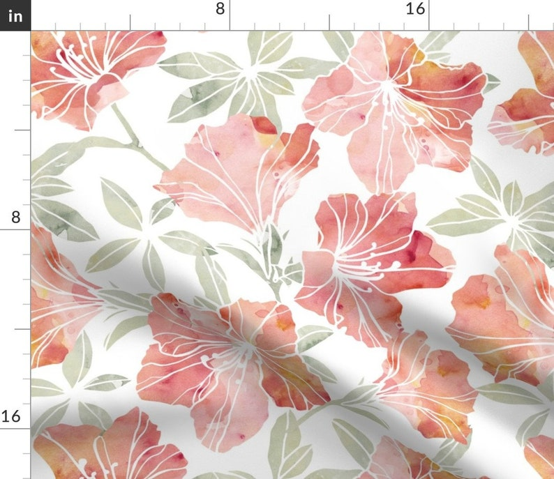 Floral Table Runner Watercolor Azalea by adenaj Nature Inspired  Flowers Living Coral Pink Cotton Sateen Table Runner by Spoonflower