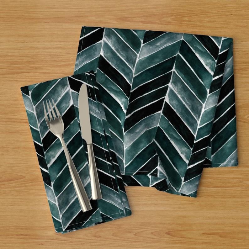 Herringbone  Cotton Sateen Table Runner by Spoonflower Deep Blue Green Chevron by crystal/_walen Teal Chevron Stripe Table Runner